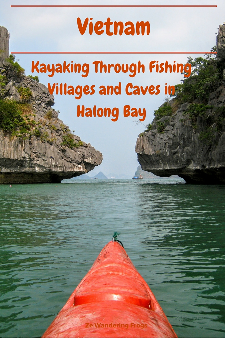 Kayaking Through Fishing Villages and Caves in Halong Bay // When we looked at Halong Bay cruises, I checked checking the different activities available and kayaking was a popular one. As occasional kayakers, this would be a great opportunity to be active and discover the bay. Many of the tours lasted, however, longer than our stay, but I made sure that the Halong Bay cruise we selected offered kayaking. No way we would pass kayaking in Halong Bay!