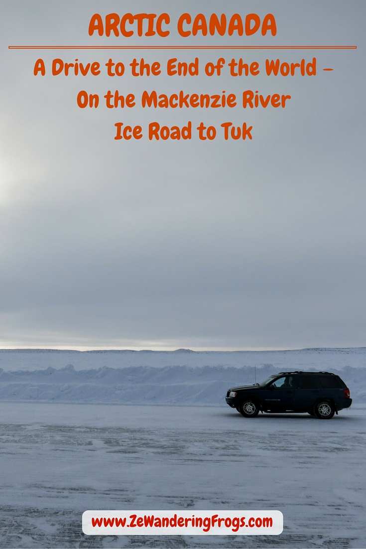 A Drive to the End of the World – On the Mackenzie River Ice Road to Tuk // White road. White horizon. White sky. A drive on the ice road of the frozen Mackenzie River from Inuvik to Tuk in Arctic Canada. Adventurous at heart, we could not pass this once-in-a-lifetime opportunity and we eagerly made plans to add this experience to our Arctic trip.